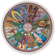 Goddess Wheel Guadalupe Round Beach Towel