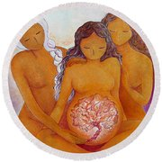 Round Beach Towel featuring the painting Goddesses In Birth  by Gioia Albano