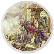 Godfrey De Bouillon's Forces Breach The Walls Of Jerusalem Round Beach Towel