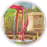 Godot, Sculpture By Bret Price In Century City, California Round Beach Towel