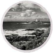 Godrevy Lighthouse 1 Round Beach Towel