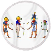 Gods And Goddess Of Ancient Egypt Round Beach Towel