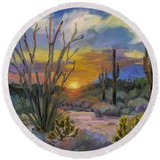 God's Day - Sonoran Desert Round Beach Towel by Diane McClary