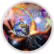 Round Beach Towel featuring the digital art God's Got This by Dolores Develde