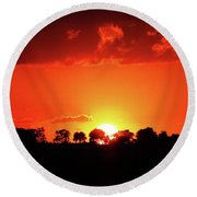 God's Gracful Sunset Round Beach Towel