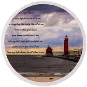 God's Lighthouse Round Beach Towel