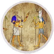 Gods Of Ancient Egypt Round Beach Towel by Michal Boubin