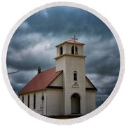 Round Beach Towel featuring the photograph God's Storm by Darren White