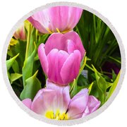 God's Tulips Round Beach Towel by Carlos Avila