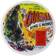 Godzilla King Of The Monsters An Enraged Monster Wipes Out An Entire City Vintage Movie Poster Round Beach Towel