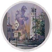 Round Beach Towel featuring the painting Godzilla Smash Ncsu- Raleigh by Ryan Fox