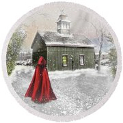 Round Beach Towel featuring the photograph Going Home For Christmas by Mary Timman