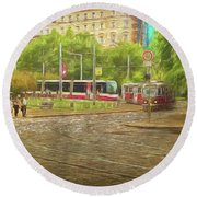 Going Slowly Round The Bend Round Beach Towel