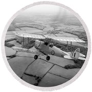 Round Beach Towel featuring the photograph Going Solo by Gary Eason