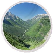 Going-to-the-sun Road Mountain Valley Round Beach Towel