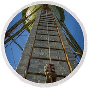 Round Beach Towel featuring the photograph Going Up Mary Leila Cotton Mill Water Tower Art by Reid Callaway