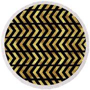 Gold And Black Tribal Zig Zag Design Round Beach Towel