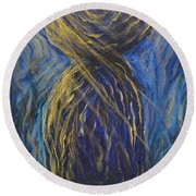 Gold And Blue Latte Stone Round Beach Towel