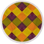 Round Beach Towel featuring the painting Gold And Green With Orange 2.0 by Michelle Calkins