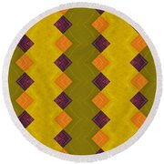 Gold And Green With Orange  Round Beach Towel by Michelle Calkins