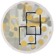 Round Beach Towel featuring the mixed media Gold And Grey Abstract by Eduardo Tavares