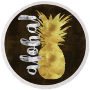 Gold And Silver Aloha Pineapple Tropical Fruit Of Hawaii Round Beach Towel