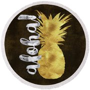 Gold And Silver Aloha Pineapple Tropical Fruit Of Hawaii Round Beach Towel by Tina Lavoie