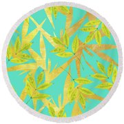 Gold And Teal Florals Round Beach Towel