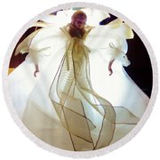 Gold And White Angel Round Beach Towel