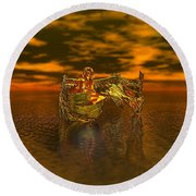 Gold Angel Round Beach Towel