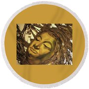 Round Beach Towel featuring the painting Gold Buddha Head by Chonkhet Phanwichien