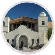 Gold Canyon Church Round Beach Towel by Greg Nyquist