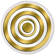 Gold Circles Round Beach Towel