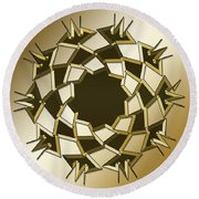 Round Beach Towel featuring the digital art Gold Coffee 10 by Chuck Staley