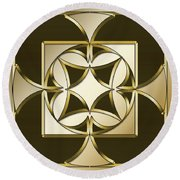 Gold Coffee 4 - Chuck Staley Round Beach Towel by Chuck Staley