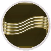 Round Beach Towel featuring the digital art Gold Coffee 8 by Chuck Staley