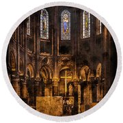 Paris, France - Gold Cross - St Germain Des Pres Round Beach Towel