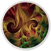 Round Beach Towel featuring the digital art Gold Curl by Deborah Benoit