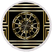 Gold Deco 8 - Chuck Staley Round Beach Towel by Chuck Staley