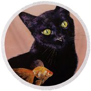 Gold Fish Round Beach Towel by Michael Creese