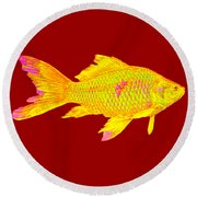Gold Fish On Striped Background Round Beach Towel