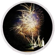 Gold Flecked 4th Of July Round Beach Towel by Craig Wood