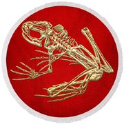Gold Frog Skeleton On Red Leather Round Beach Towel