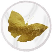 Gold Glam Butterfly Round Beach Towel