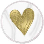 Gold Glam Heart Round Beach Towel
