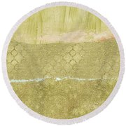 Gold Glam Pretty Abstract Round Beach Towel by P S