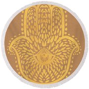 Gold Hamsa Hand On Brown Paper Round Beach Towel