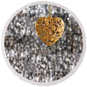Round Beach Towel featuring the photograph Gold Heart  by Ulrich Schade