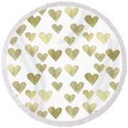 Gold Hearts Round Beach Towel