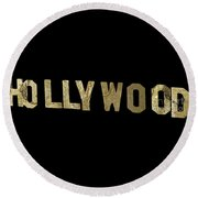 Gold Hollywood Sign Round Beach Towel